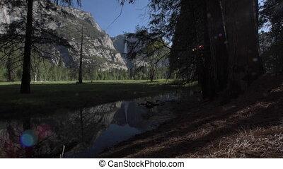 Yosemite Falls reflection in Merced River at Sunrise National Park, California