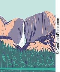 Yosemite Falls the Highest Waterfall in Yosemite National Park Located in the Sierra Nevada California USA WPA Poster Art