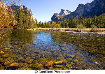 Yosemite Merced River el Capitan and Half Dome in California...