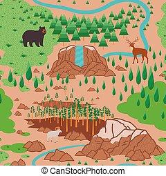 Yosemite National Park seamless pattern