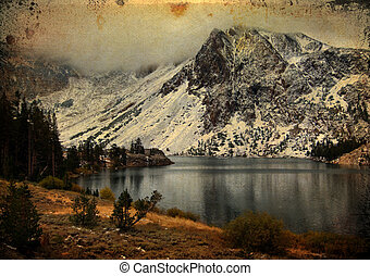 yosemite national state park, ca, usa - photo grunge...