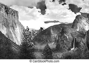 Yosemite Valley in black and white ala Ansel Adams