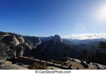Yosemite Valley on a moonlit night - Night shot of Half Dome...