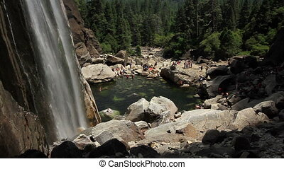 Yosemite Waterfall Tilt Up - Tilting up from a pool at the...