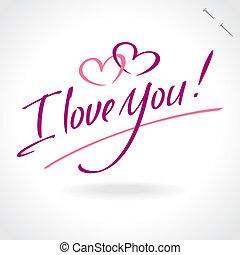 you', レタリング, 'love, (vector), 手