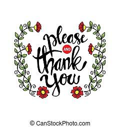 you., 感謝しなさい, どうか, 書かれている手, lettering.