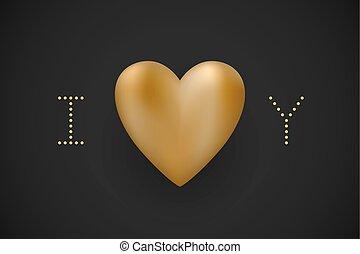 you., amore, illustration., cuore oro, augurio, valentina, vettore, sfondo nero, messaggio, giorno, card.