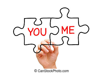 You and Me Puzzle Concept