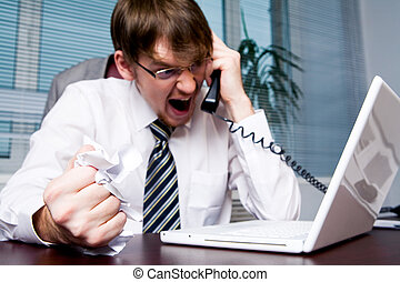 You are fired! - Image of aggressive boss yelling into...