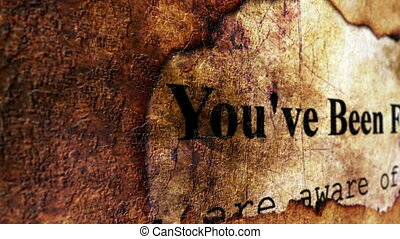 You are fired text on grunge background