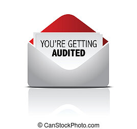 you are getting audited mail illustration design over white