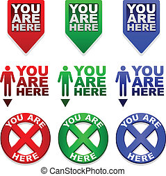 "Three different ""YOU ARE HERE"" map markers in different colors"