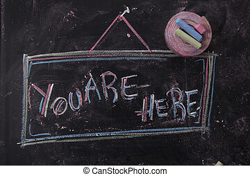 You are here - Graphical representation with chalk on...