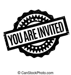 You Are Invited rubber stamp. Grunge design with dust...
