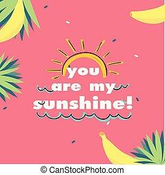 You Are My Sunshine Sun Banana Pink Background Vector Image