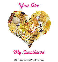 "You Are My Sweetheart - Heart made of sweet with pink ""you..."
