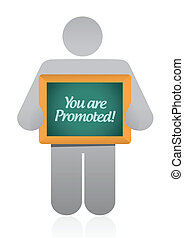 you are promoted sign illustration design