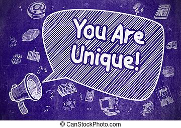 You Are Unique - Doodle Illustration on Blue Chalkboard.