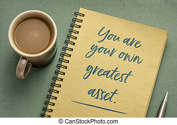 You are your own greatest asset inspirational note