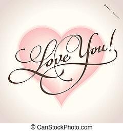you', beschriftung, 'love, (vector), hand