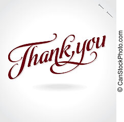 you', beschriftung, 'thank, (vector), hand