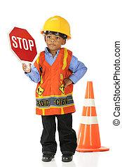 "You Better Stop - An adorable preschool ""road crewman"" in a..."