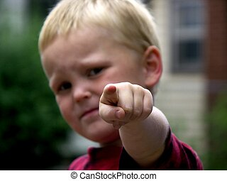 boy pointing ,focus on finger