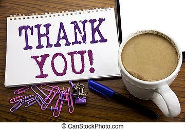 you., café, concept, remercier, business, bois, texte, projection, écrit, écriture, note, sous-titre, stylo, papier, remerciement, fond, message, main, inspiration