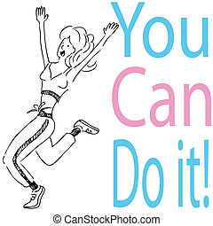 You Can Do It! - An image of a woman runing with joy.