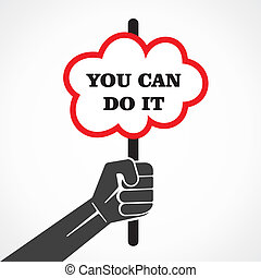 you can do it word banner hold in hand stock vector