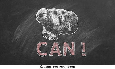 You can. Close up of a human hand pointing at you with lettering CAN. Animation drawn in chalk on blackboard. Business motivational inspirational quotes. Concept of ability, possibility, motivation.