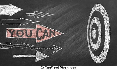 You Can. Many different arrows and target. Business motivational inspirational quotes. Illustration hand drawn in chalk on blackboard. Concept of ability, motivation, possibility. Seamless loop video