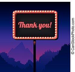 you., danken, ouderwetse , teken., lights., retro, reclame, buitenreclame, straat, 3d