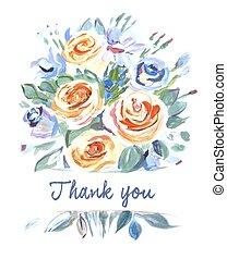 you., danken, sinaasappel, bouquetten, schaduwen, paarse , flowers., vector, painting., kaart