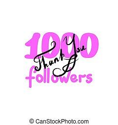 you., disegnare, ringraziare, immagine, illustrazione, mano, rete, followers., vettore, seguaci, sociale, networks., draw., lei, amici, originale, 1000