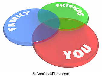 You Friends Family Venn Diagram Circles 3d Illustration