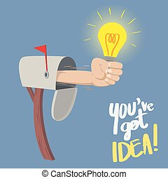 You have Got IDEA! - Hand with a bright light bulb show up...