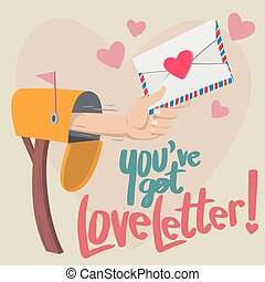 Hand with a Love letter show up from mailbox with big heart background