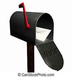Single piece of mail in a mailbox
