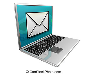 Laptop computer displaying a large mail icon indicating YOU HAVE MAIL