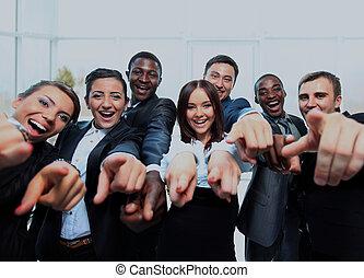 you., indicare, persone affari, giovane, ritratto, eccitato