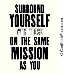 you., inspirer, affiche, mission, entourer, typographie, t-...