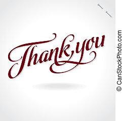 you', iscrizione, 'thank, (vector), mano