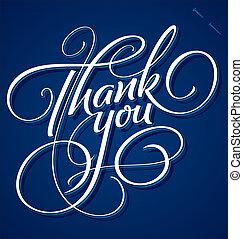 you', letras, 'thank, (vector), mano