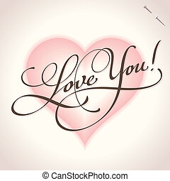 you', lettering, 'love, (vector), mão