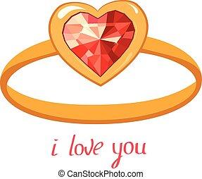 you., liefde, goud, vrijstaand, achtergrond., frase, ring, robijn, witte
