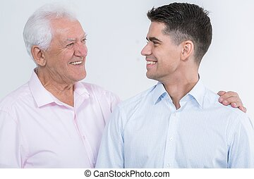 You make me proud - Happy mature father and his adult son...