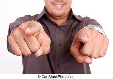 Male hands pointing at the camera, expressing positivity