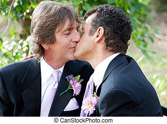You May Kiss the Groom - Handsome gay male couple kissing in...