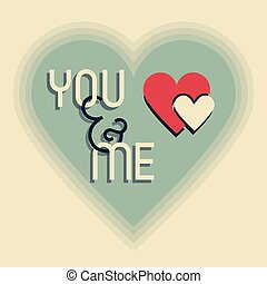 You & Me retro heart shape designs